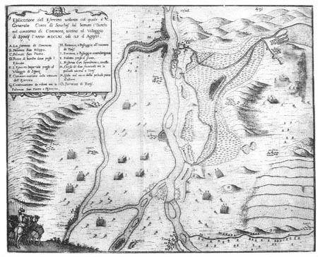 Map of the environs of Komárno from year  1661.