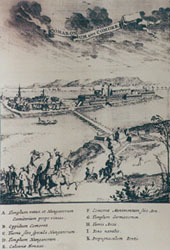 Komárno during the besieging by the Turks in 1594. Copperplate of Johann Sibmacher, 1603