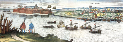 The Komárno Castle in 1595. The coloured copperplate made by Jacob Hoefnagel.