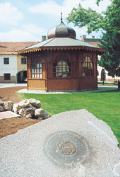 The Music Pavilion and the foundation-stone of the Europe Place